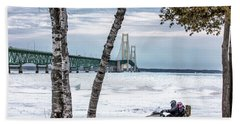 Beach Towel featuring the photograph Snowmobile Michigan  by John McGraw
