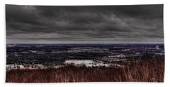 Snowstorm Clouds Over Rib Mountain State Park Beach Towel