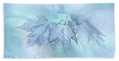 Snowy Baby Leaves Winter Holiday Card Beach Towel