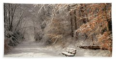 Snowy Bench Beach Towel by Lori Deiter
