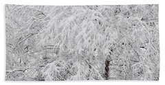 Snowy Branches Beach Towel