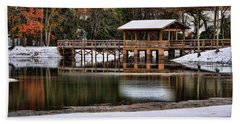 Snowy Bridge Beach Towel