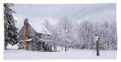 Snowy Cabin Beach Sheet by Benanne Stiens