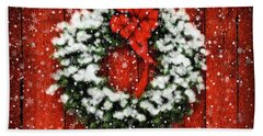 Snowy Christmas Wreath Beach Sheet