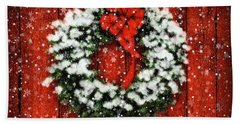 Snowy Christmas Wreath Beach Sheet