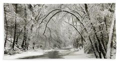 Snowy Clarks Creek Beach Sheet by Lori Deiter