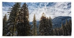 Snowy Clouds Beach Towel