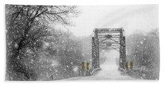 Snowy Day And One Lane Bridge Beach Sheet by Kathy M Krause