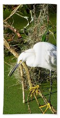 Beach Towel featuring the photograph Snowy Egret 003 by Chris Mercer