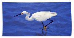 Snowy Egret 1 Beach Sheet by Bill Holkham