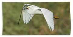 Snowy Egret 4786-091017-1cr Beach Towel