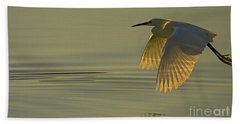 Beach Towel featuring the photograph Snowy Egret At Dusk-signed-#6037 by J L Woody Wooden