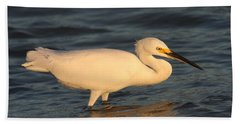 Snowy Egret By Sunset Beach Towel by Christiane Schulze Art And Photography