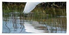Snowy Egret In Flight Beach Towel