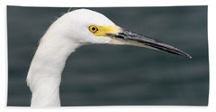 Beach Towel featuring the pyrography Snowy Egret Profile by Shoal Hollingsworth