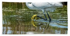 Snowy Egret Reflection Beach Towel