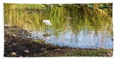 Snowy Egret Reflections Beach Towel