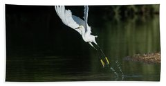 Snowy Egrets 080917-4290-1cr Beach Towel