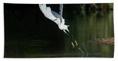 Snowy Egrets 080917-4290-1cr Beach Towel