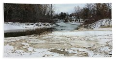 Snowy Elk Rapids River Beach Towel