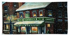 Snowy Evening In Gloucester, Ma Beach Towel