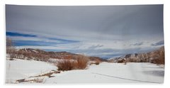 Snowy Field Beach Towel