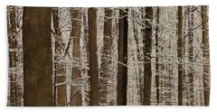 Snowy Forest Elevation Beach Towel