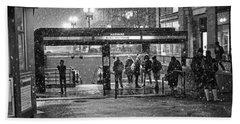 Snowy Harvard Square Night- Harvard T Station Black And White Beach Towel