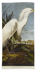 Snowy Heron Beach Towel by John James Audubon
