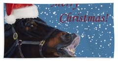 Snowy Horse Jumping Christmas Beach Sheet