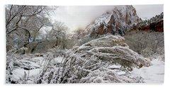 Snowy Mountains In Zion Beach Sheet