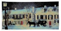 Snowy Night At The Inn Beach Sheet