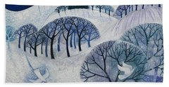 Snowy Night  Beach Towel by Lisa Graa Jensen