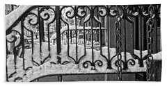 Beach Sheet featuring the painting Snowy Nyc Steps by Joan Reese