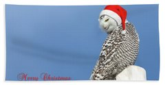 Beach Towel featuring the photograph Snowy Owl Christmas Card by Everet Regal