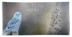 Snowy Owl Christmas Greeting Beach Sheet