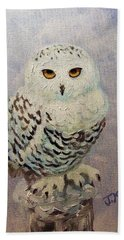Beach Towel featuring the painting Snowy Owl by Janet McDonald