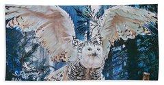Snowy Owl On Takeoff  Beach Towel