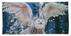 Snowy Owl On Takeoff  Beach Towel