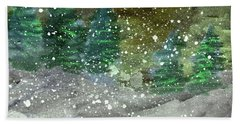 Snowy Pines Beach Sheet by R Kyllo