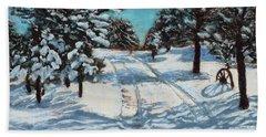 Snowy Road Home Beach Towel