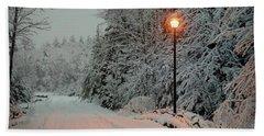 Snowy Road Beach Sheet