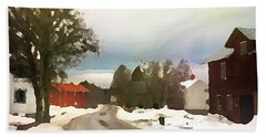 Beach Towel featuring the digital art Snowy Street With Red House by Shelli Fitzpatrick
