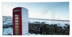 Snowy Telephone Box Beach Sheet by Helen Northcott