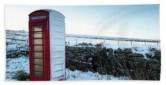 Snowy Telephone Box Beach Towel