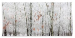 Beach Towel featuring the photograph Snowy Trees Abstract by Benanne Stiens