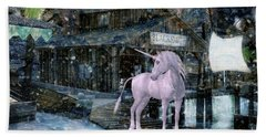 Snowy Unicorn Beach Towel