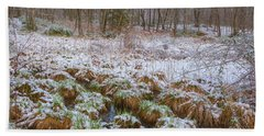 Snowy Wetlands Beach Sheet by Angelo Marcialis