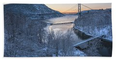 Snowy Winter Dawn At Three Bridges Beach Towel