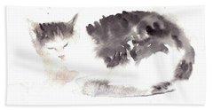 Snuggling Cat Beach Sheet
